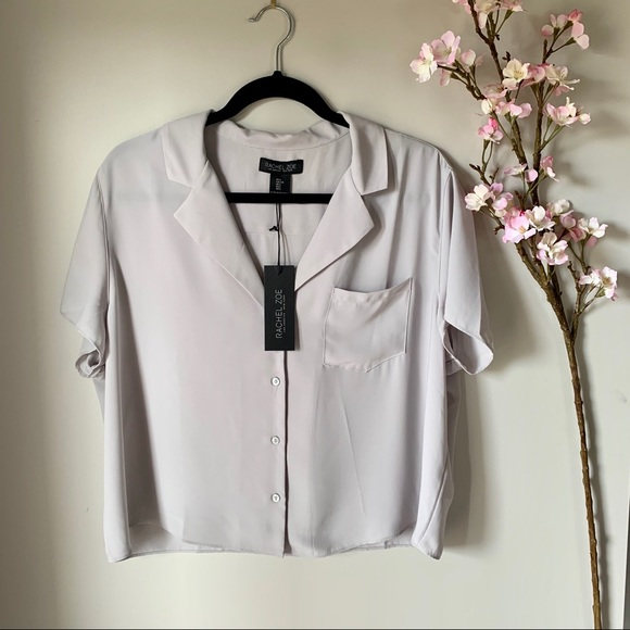 NWT RACHEL ZOE / CROPPED BUTTON UP TOP